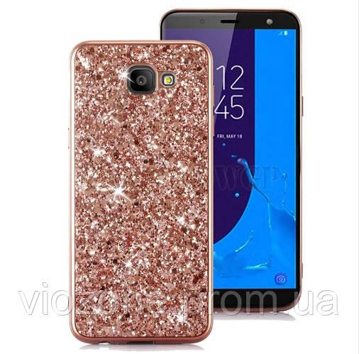 Чехол/Бампер блеск с кристаллами для Samsung J4 Plus 2018 (J415) Розовый (Силиконовый)