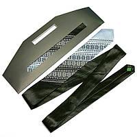 Атласный галстук с вышивкой «Черно-серый дуэт (узкий)», фото 1