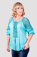 Модная летняя блуза с ажурными вставками производитель Индия