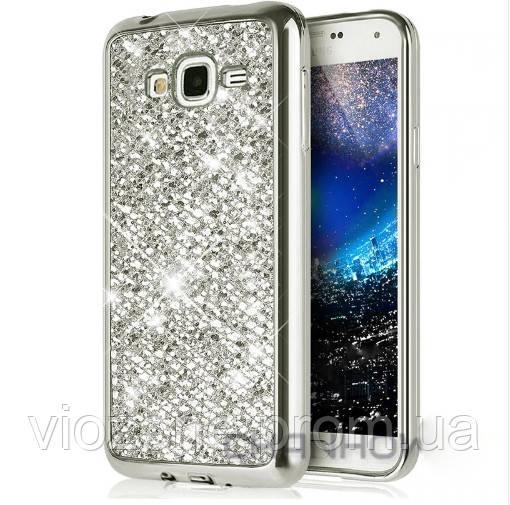 Чехол/Бампер блеск с кристаллами для Samsung J5 2015 (J500H) Серебро (Силиконовый)