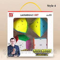 Подарунковий набір головоломок (Master morphinx, pyraminx,megaminx,skewb) кольоровий QiYi