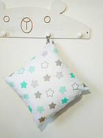 Декоративная подушка двухсторонняя Strekoza Звездочки 38х38 см белый серый, фото 1