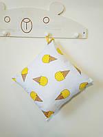 Декоративная подушка двухсторонняя Strekoza Мороженое 38 х 38 см белый желтый, фото 1