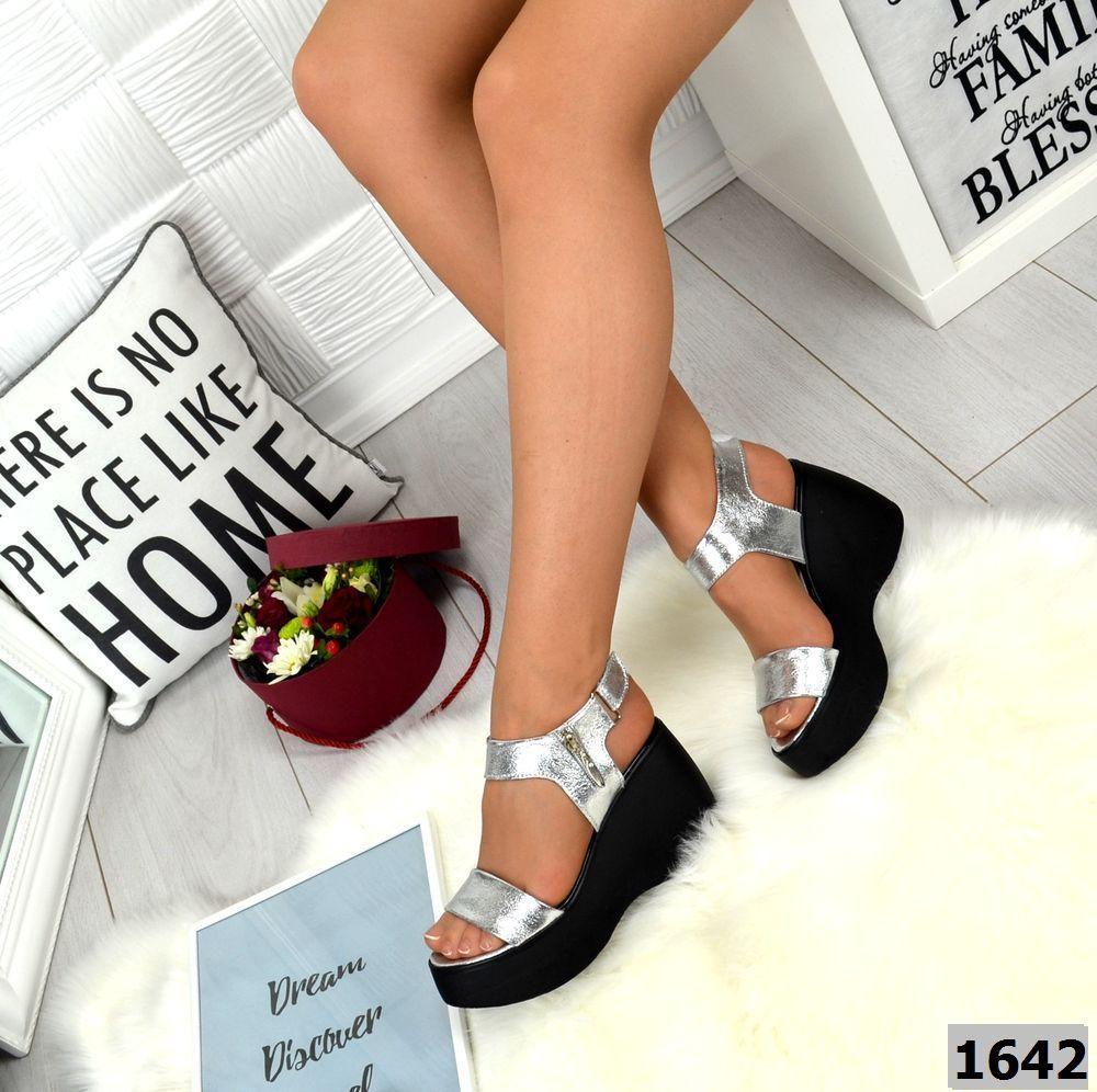 Изящные женские босоножки на платформе, серебро 36-40