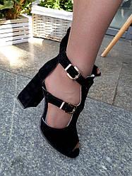 Женские босоножки на каблуках из натуральной замши 35-40