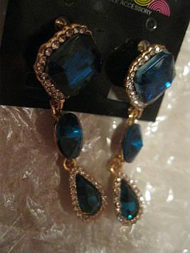 СЕРЬГИ сережки гвоздики длинные квадрат бижутерия бирюзово синие камни новые очень красивые новая коллекция