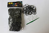 600 штук темно-серебристых резиночек для плетения Loom Bands