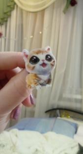 Брошка брошка значок рудий кіт кішка кошеня акрил глазастик як живий