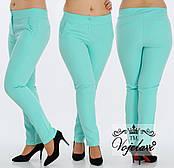 Стильные женские брюки с кокеткой (разные цвета) 48-54  мята, электрик