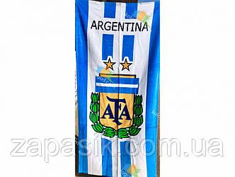 Полотенце Пляжное Велюровое с Футбольной Символикой Аргентина 75X150