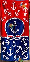 Полотенце Пляжное Махровое Велюровое Морское Якорь Красный Синий 75X150