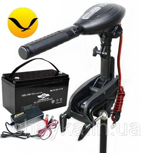 Электромотор для лодки Haswing Osapian E-30 +100a/h AGM аккумулятор +зарядка 10A. Комплект; (Лодочный электромотор Хасвинг Осапиан 30);