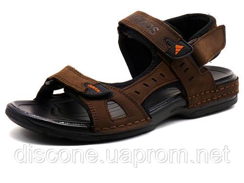 Сандалии Adidas, мужские, кожаные, коричневые