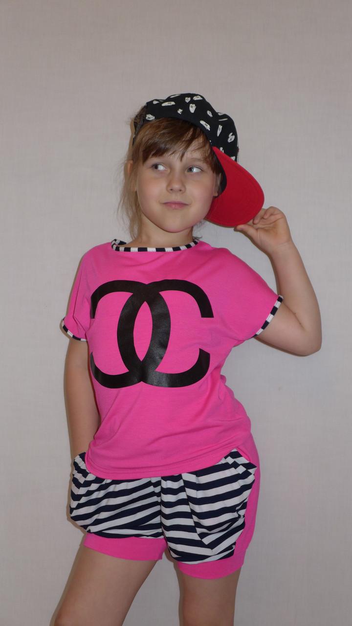 "Летний костюм ""Модница "" малинка. Комплект шорты и футболка."