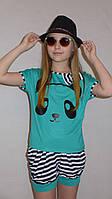 """Летний костюм """"Панда """" мята. Комплект шорты и футболка., фото 1"""