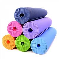 АКЦИЯ. Коврик 4мм для йоги и фитнеса, аэробики, цвета в наличии. +Подарок