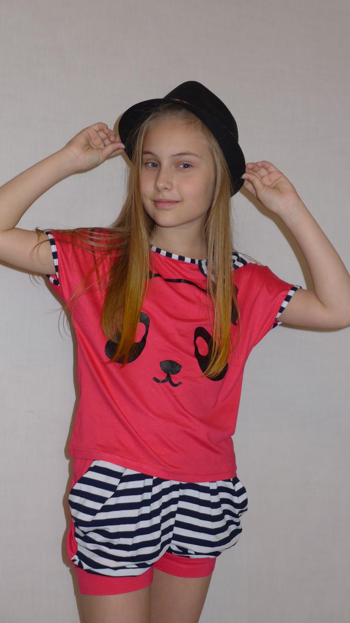 """Летний костюм """"Панда """" корал. Комплект шорты и футболка."""