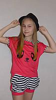"Летний костюм ""Панда "" корал. Комплект шорты и футболка., фото 1"