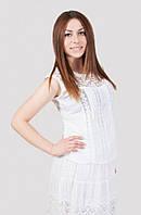 Стильная летняя блуза больших размеров с гипюровой вставкой