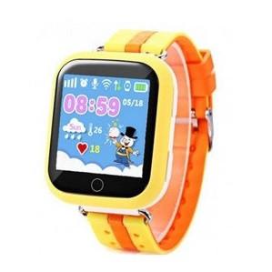 Детские смарт часы Q100S/Q750 умные часы, детские часы с gps. Оранжево-желтые