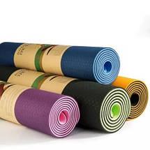 Коврик для йоги и фитнеса Оригинал TPE+TC, двухслойный, 8 мм + Подарок, фото 2