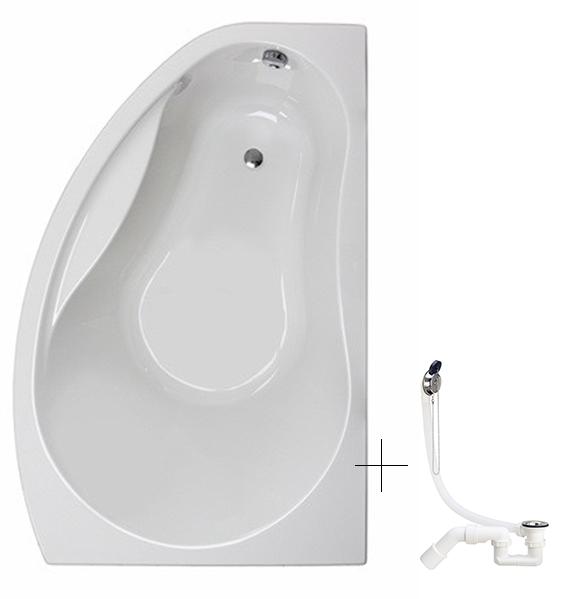 PROMISE ванна асимметричная 150*100 см, правая, белая, с ножками SN7 + сифон Viega Simplex  для ванны