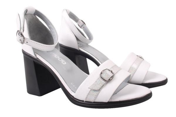 Босоножки женские на каблуке с ремешком Euromoda Турция натуральная кожа, цвет белый
