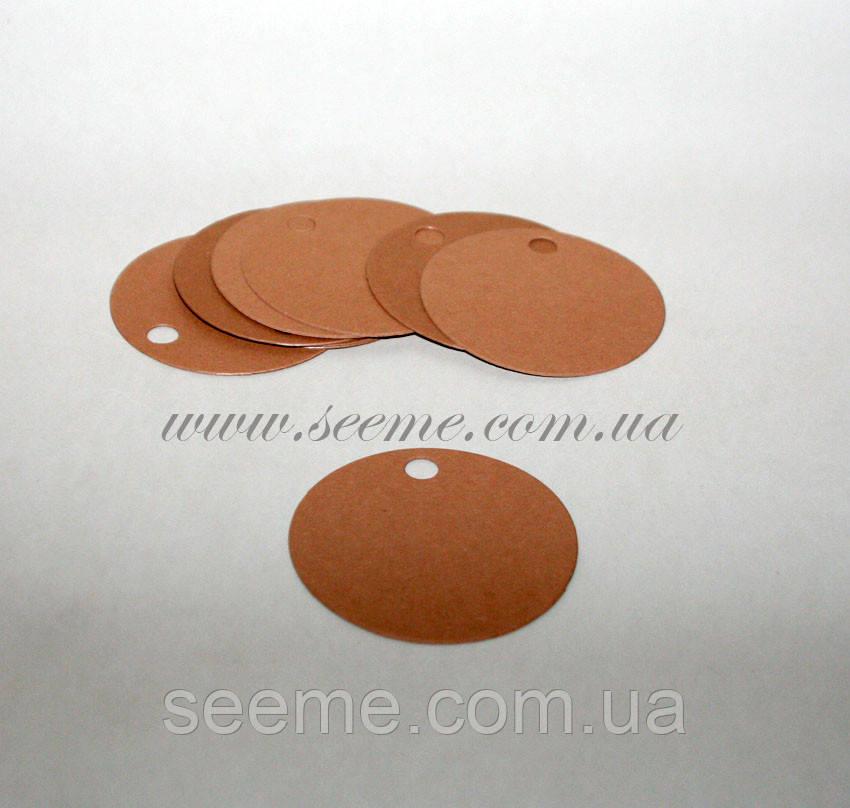 Теги з дизайнерського картону круглі 60 мм, 10 шт