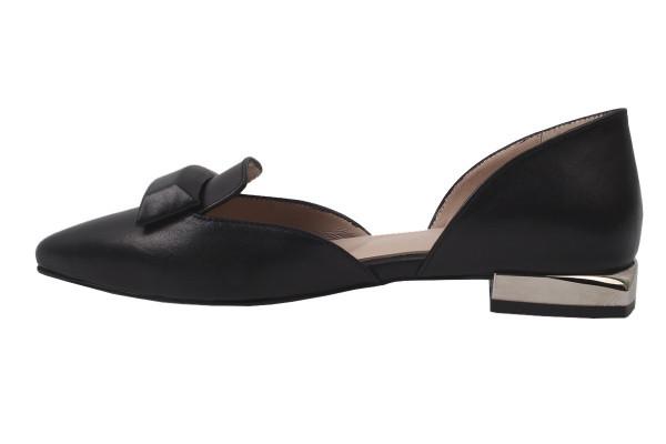 Туфли , балетки женские летние на низком ходу Lottini Турция натуральная кожа, цвет черный