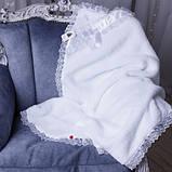 """Комплект для крещения мальчика """"Бантик+Angel"""" (белый+голубой), фото 4"""