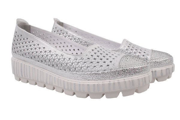 Туфли комфорт Phany натуральный сатин, цвет серебро