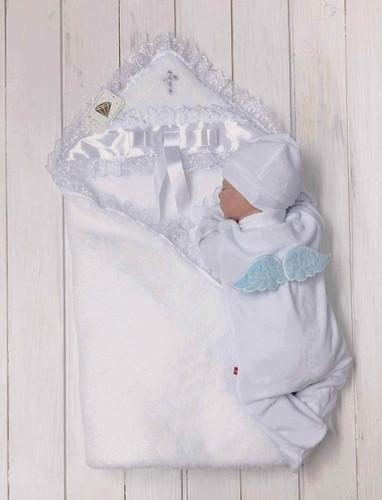 """Комплект для крещения мальчика """"Бантик+Angel"""" (белый+голубой)"""