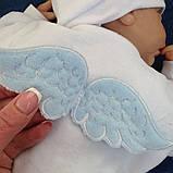 """Комплект для крещения мальчика """"Бантик+Angel"""" (белый+голубой), фото 8"""