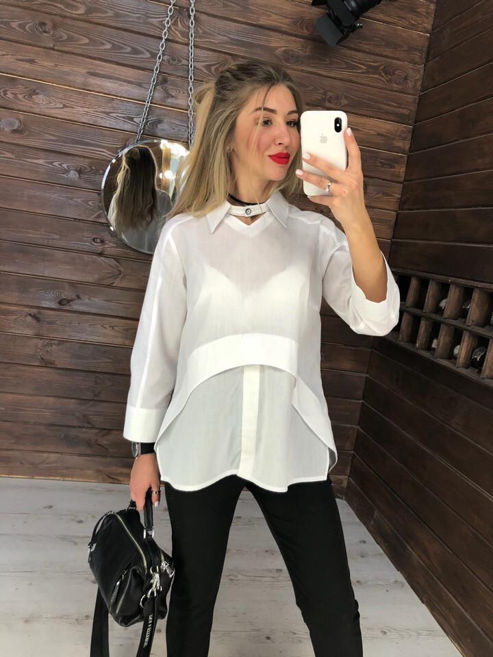 Хлопковая рубашка в белом цвете, ткань: хлопок. Размер: 42-46. Цвет:белый (6362)