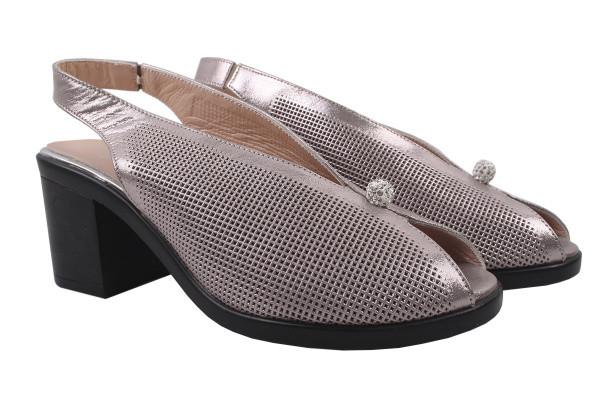 Босоножки , туфли женские летние на каблуке Mario Muzi натуральный сатин, цвет капучино