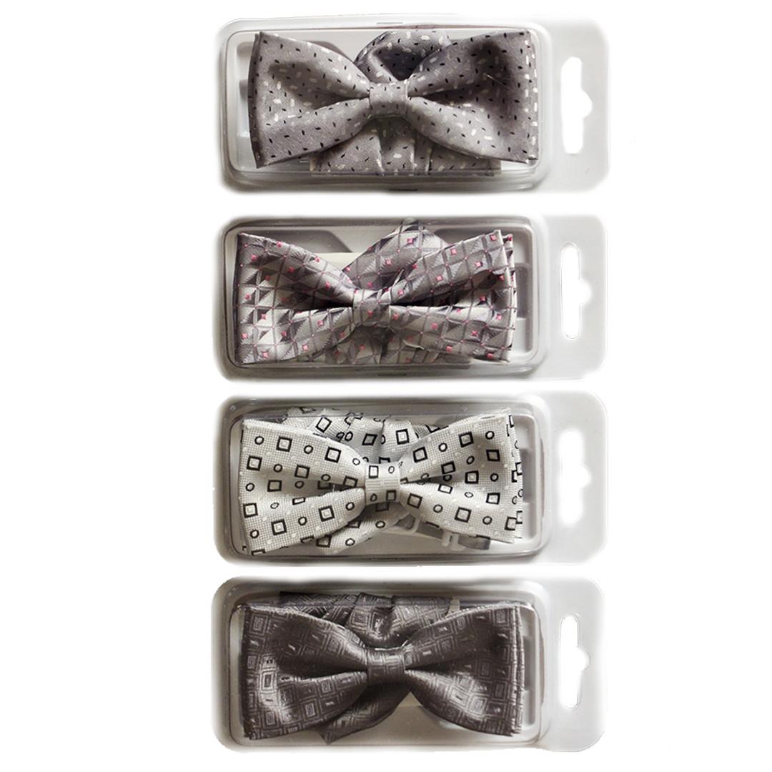 Галстуки- бабочки для мальчиков Dunpillo серые с платком в карман