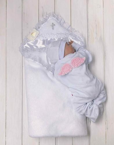 """Комплект для крещения девочки """"Бантик+Angel"""" (белый+розовый)"""