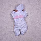 """Комплект для крещения девочки """"Бантик+Angel"""" (белый+розовый), фото 5"""