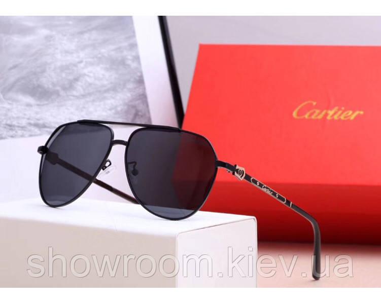 Мужские солнцезащитные очки с поляризацией в стиле Cartier (0121) black