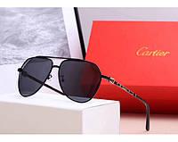 Мужские солнцезащитные очки с поляризацией в стиле Cartier (0121) black, фото 1
