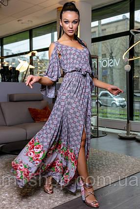 Женское длинное платье с разрезом (3452-3451-3453 svt), фото 2