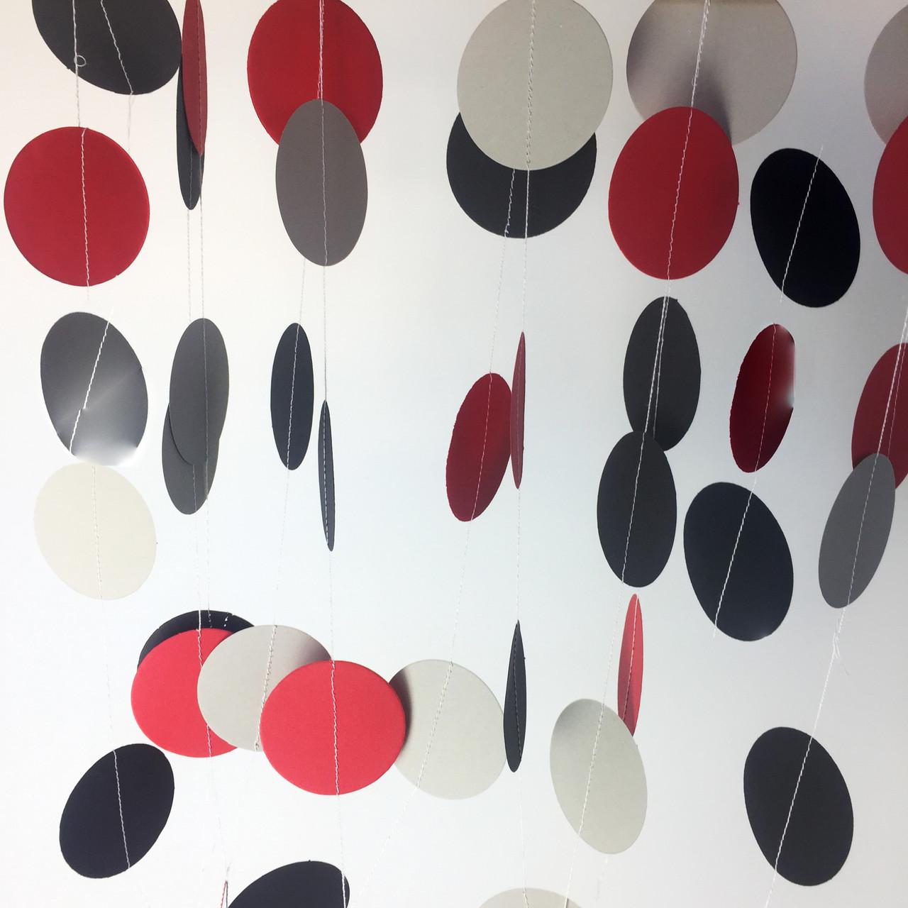 Бумажная гирлянда из кружков 2 метра белый красный и серый