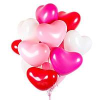 Шарики сердце большое 44 см разноцветные, 10 шт