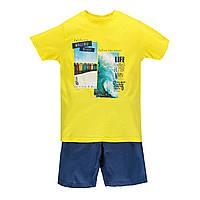 Комплект для мальчика из 2-х частей футболка и шорты-бермуды BRUMS  191BFEM001 желтый с синим 140
