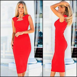 Красное платье-футляр повседневное летнее