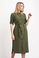 Платье-рубашка длиною миди цвета хаки