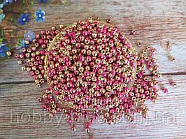Жемчуг искусственный, 6 мм, цвет градиент розовый+золото, 5 грамм (47-48шт).