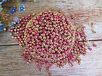 Жемчуг искусственный, 8 мм, цвет градиент розовый+золото, 10 грамм (~40 шт).