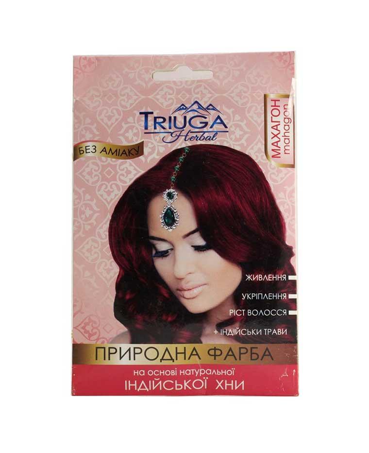 Краска натуральная для волос на основе хны, 25 г, Triuga Махагон Триюга