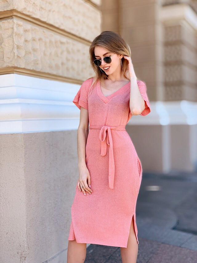 Модное летнее платье с коротким рукавом Коралловый